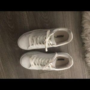 White platform puma sneakers